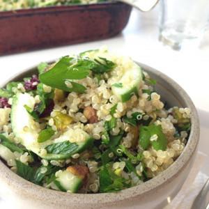 Quinoa, cranberry, parsley and cucumber salad